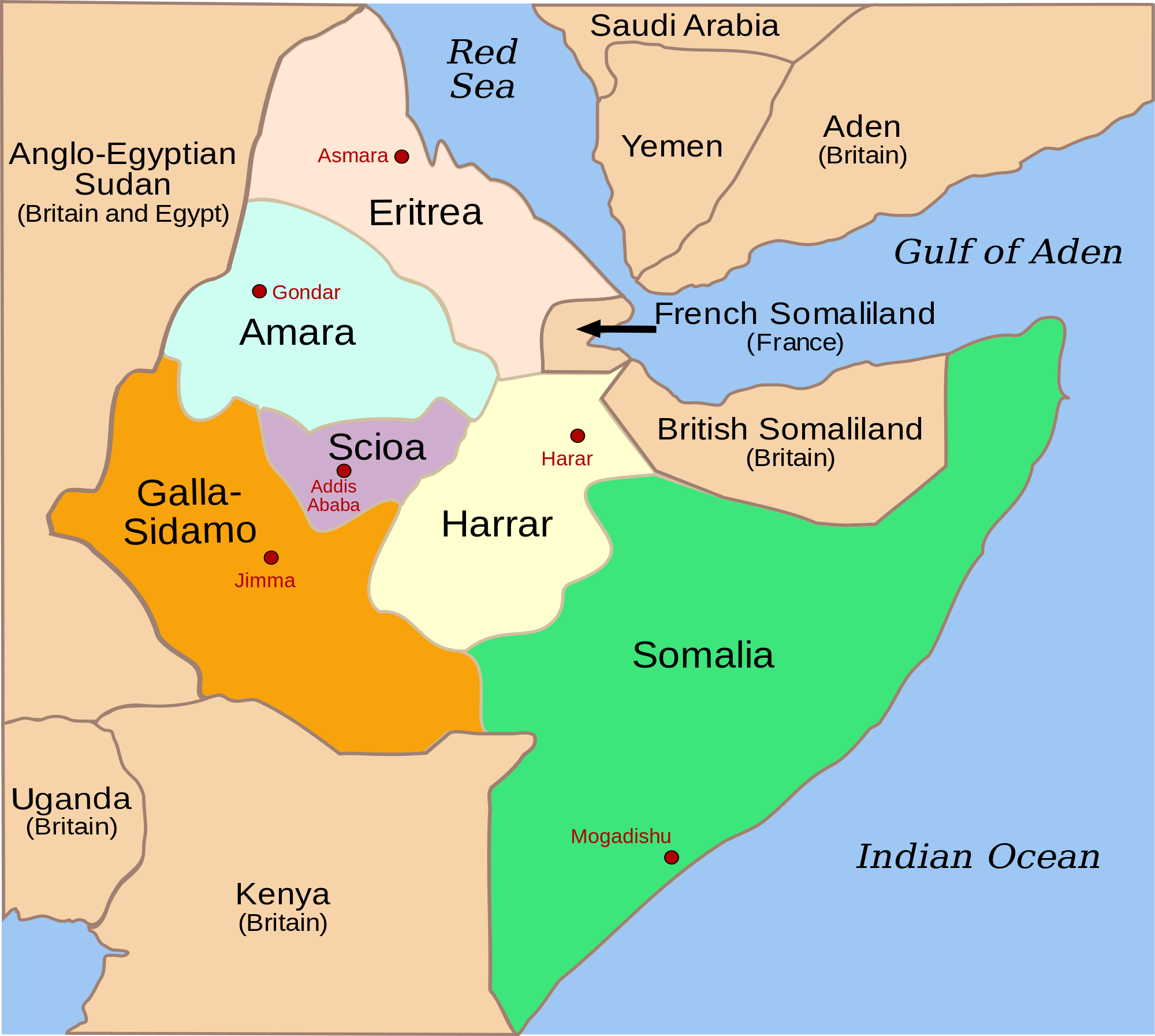 british somalia africa map