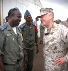 061205-N-1328C-343 - Douda, Djibouti (December 5, 2006) - (Right). U.S. Marine Corps Forces Central Commander, Lt. Gen. James Mattis visits with local officials from Douda, Djibouti, during Djibouti, home of the Combined Joint Task Force - Horn of Africa command. Combined Joint Task Force-Horn of Africa is a unit of United States Central Command. The organization's mission is to prevent conflict, promote regional stability and protect Coalition interests in order to prevail against extremism. More than 1,500 people from each branch of the U.S. military, civilian employees, Coalition forces and Partner nations make up the organization. The area of responsibility for CJTF-HOA includes the countries of Djibouti, Ethiopia, Eritrea, Kenya, Seychelles, Somalia, Sudan and Yemen. USN Photo by Chief Mass Communication Specialist Eric A. Clement (RELEASED)