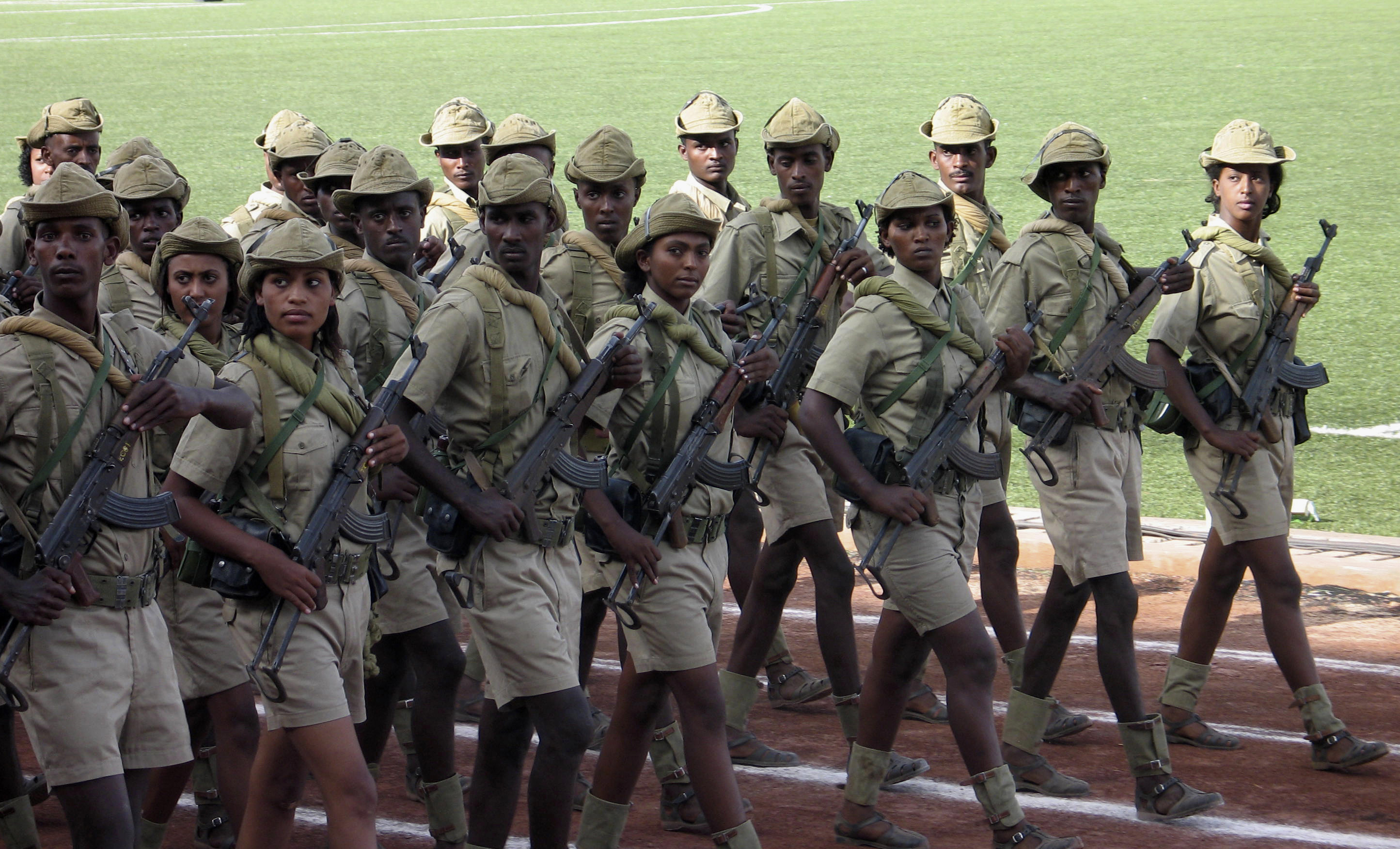 Eritrean soldiers march during the country's Independence Day in Asmara
