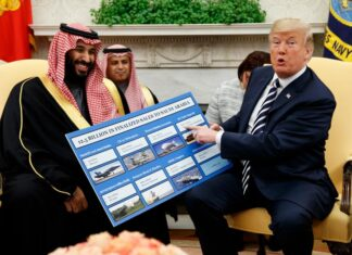 Donald Trump is seen with Crown Prince Mohammed Bin Salman