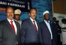 Hassan Sheikh (Left) Farmaajo (center) and Sharif Ahmed