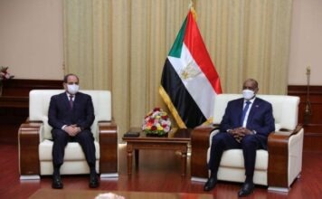 Chief General Abdel Fattah al-Burhan meets with Egyptian President Abdel Fattah al-Sisi, in Khartoum