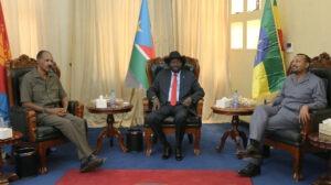 Eritrean President Isaias Afwerki, South Sudan's President Salva Kiir and Abiy Ahmed, prime minister of Ethiopia,